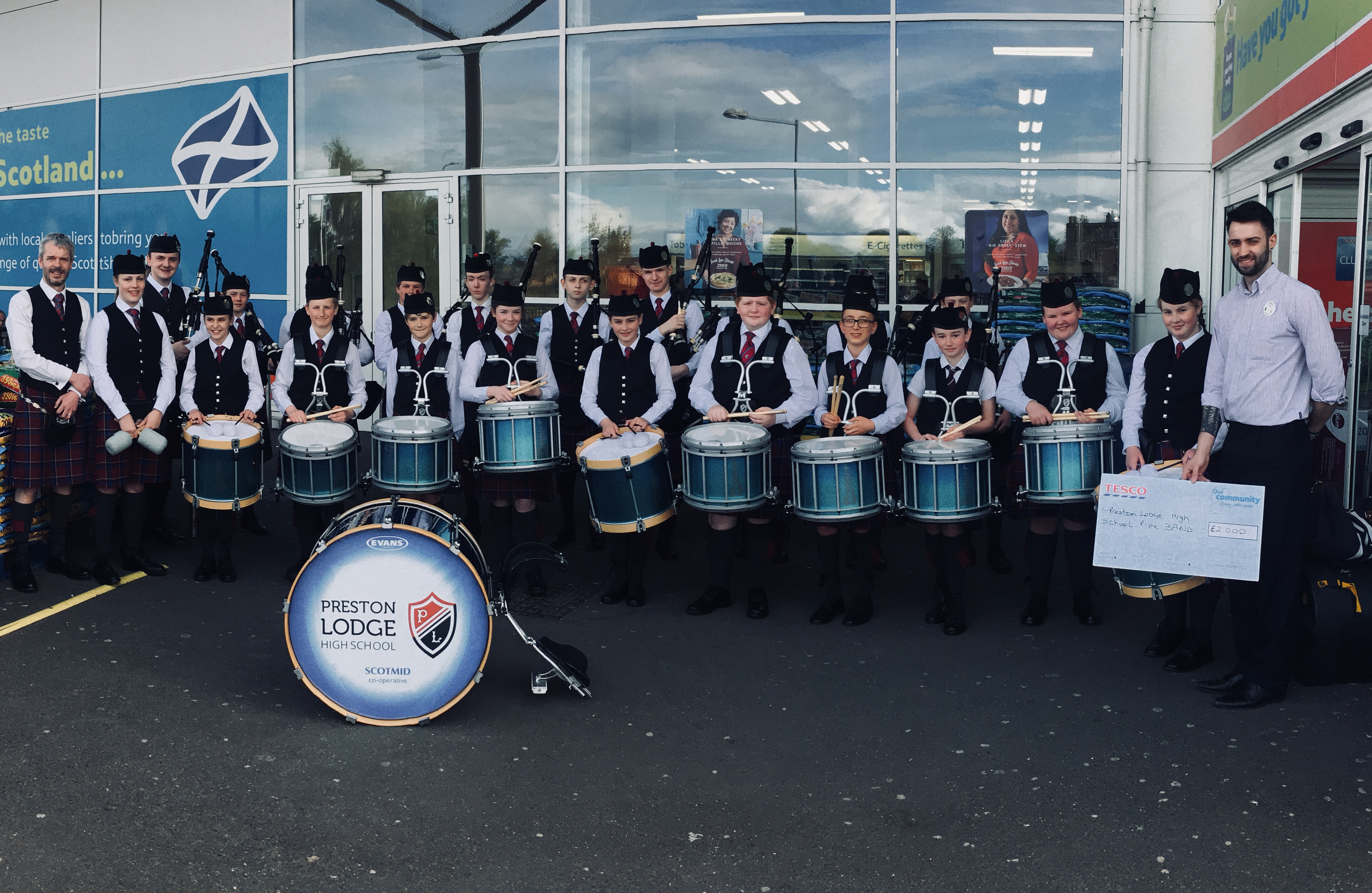 Tesco – Bags of Help Success.  Band receives £2000